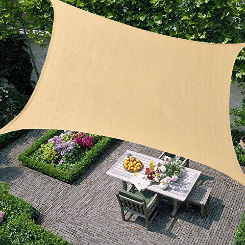 Kosycosy 10' x 13' Rectangle Sun Shade Sails 185GSM Sand Canopy, UV Block for Patio, Garden, Outdoor Facility, and Activities (10'x13', Sand) by Kosycosy