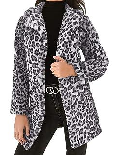 Manteau Longue Imprimé Léopard Veste à Manches Longues Coupe Slim Cardigan  en Polaire Chaud Demi- 6c9769aeb112