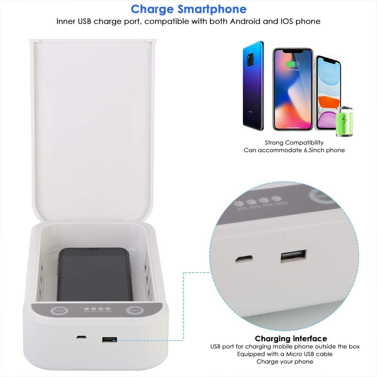 DaMohony UV-Smartphone Sterilisator Tragbare Handy Desinfektionsbox mit USB-Kabel Zwei UV-Leuchten f/ür Alle Kleinen Gegenst/ände
