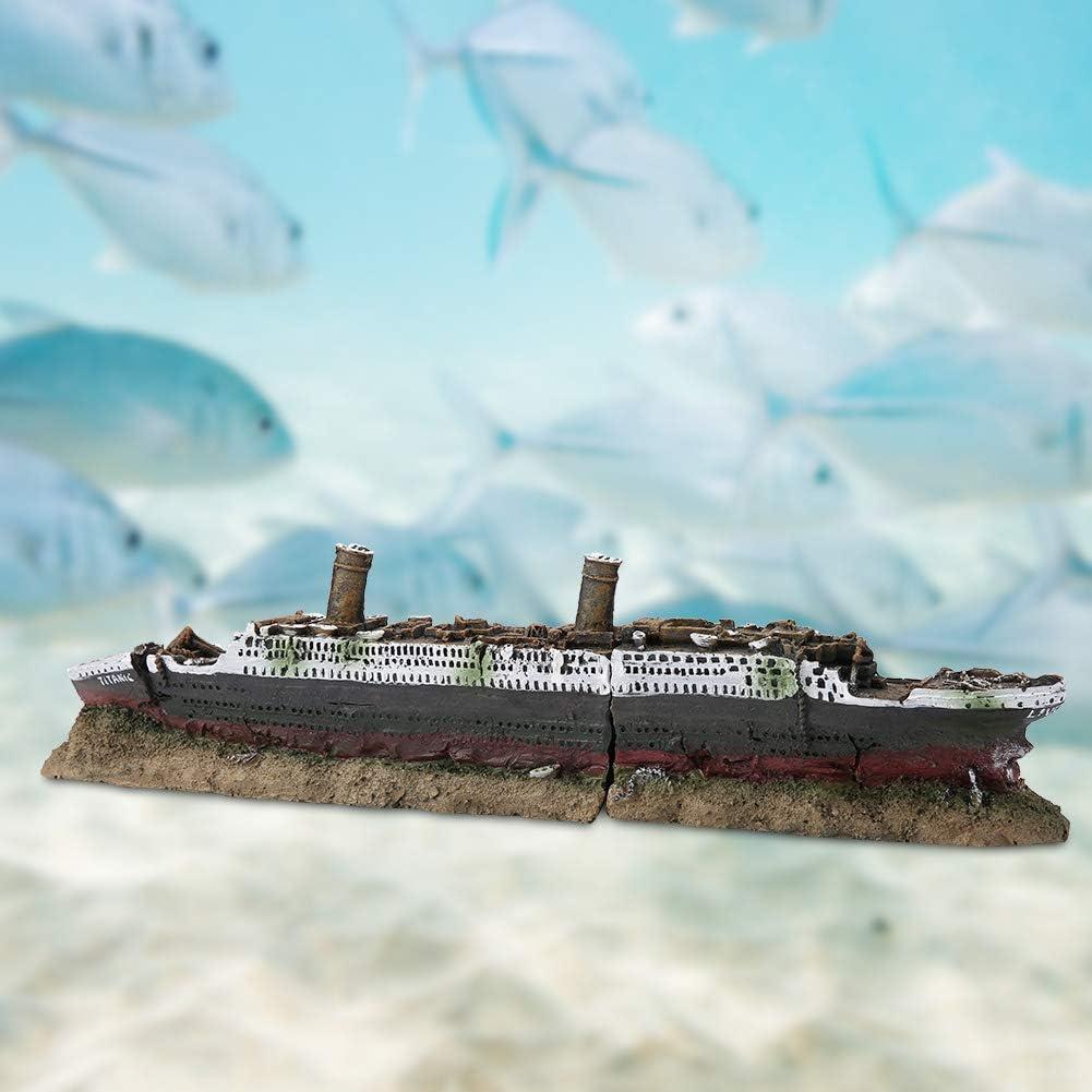 DZL Aquarium Boat Decorations Resin Shape Titanic Ornament Aquarium Boat Decoration Fish Tank Ornament