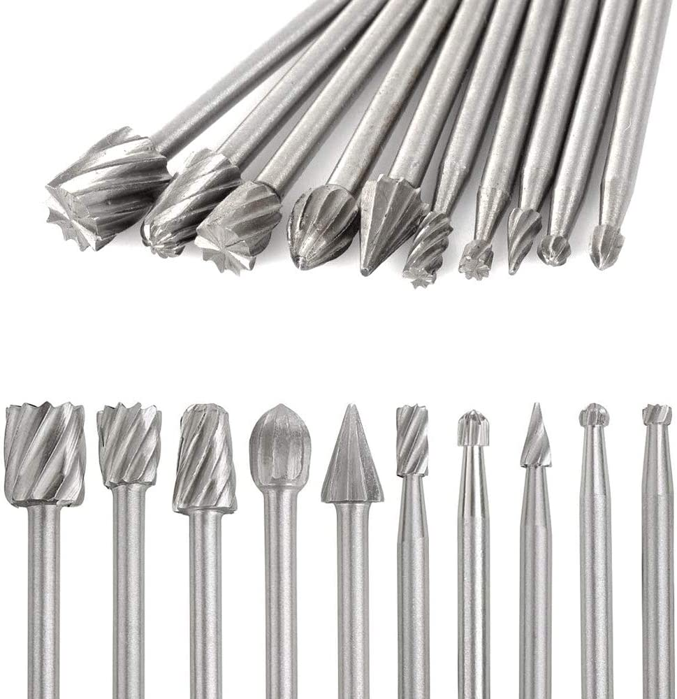 Carving Drilling Saipor 20pcs 1//8 Shank HSS Routing Router Bits Rotary Burr Set Wood Carving Drill Bits Multi-shape Rotary File Grinder Fit Dremel Foredom Rotary Tool Set DIY Woodworking Engraving