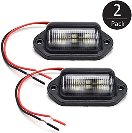 2 Pack Universal White 3 LED License Plate Light Tag Lamp 12V Truck Motorcycle