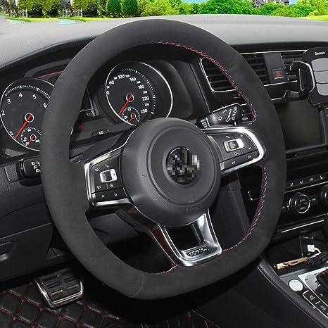 LUOERPI Funda de Volante de Ante Negro, para Volkswagen Golf 7 GTI ...