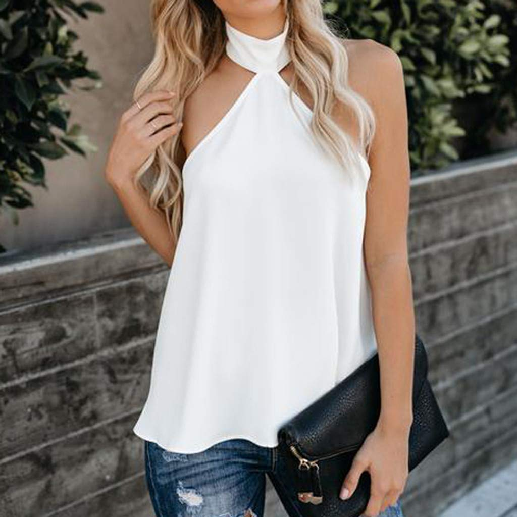 Women's Halter Blouse, Gogoodgo Laides Pure Color Sleeveless Loose Hem Tops Cold Shoulder Baggy Soft T-Shirt White by Gogoodgo vest (Image #4)