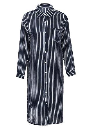 c1305cca591 Romacci Women Stripe Long Sleeve Shirt Turn-Down Collar Plus Size Tops  Kimono Cardigan Oversized Tunic Blouse  Amazon.co.uk  Clothing