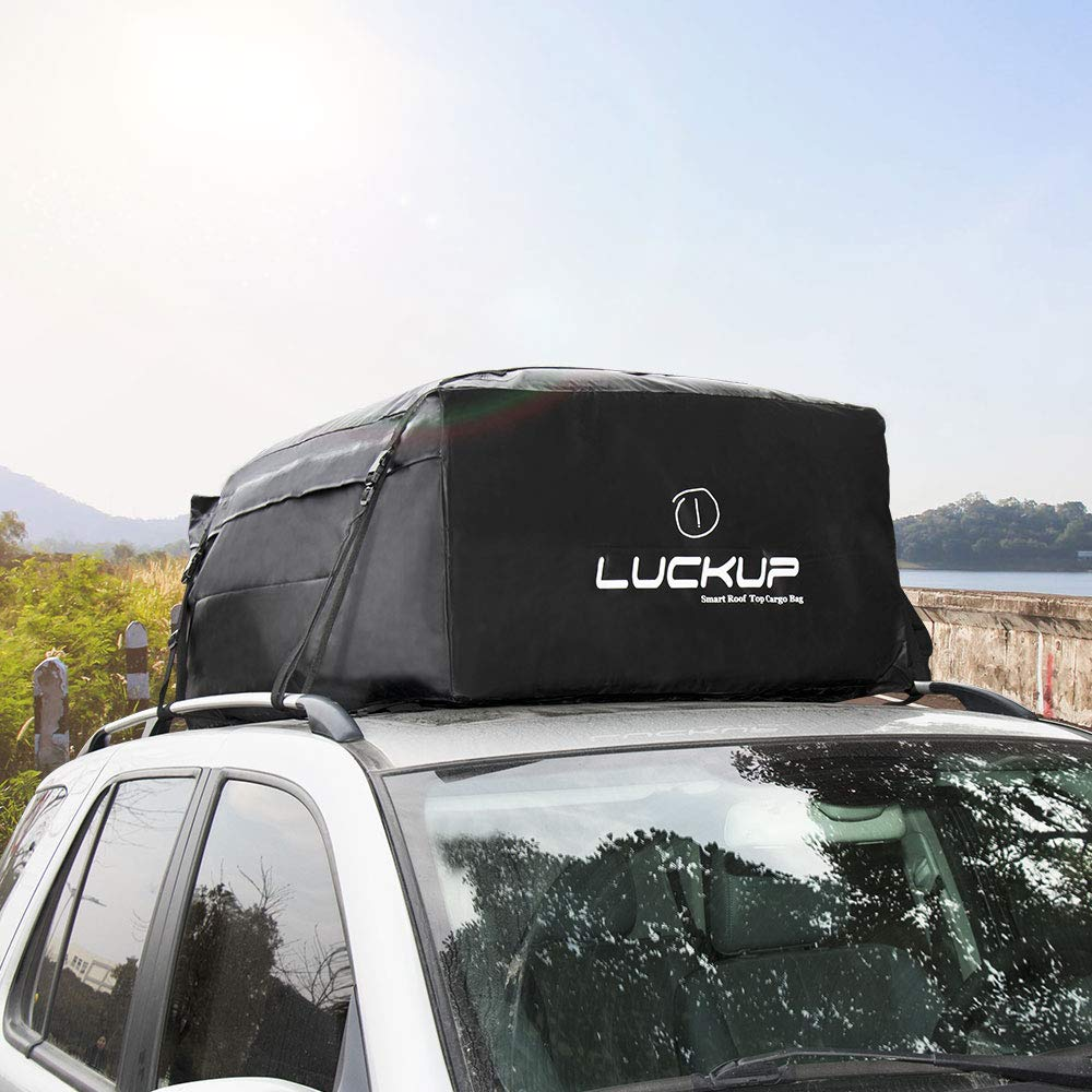 LUCKUP Cargo/ Carrier 100/%/ Car Roofbag Waterproof/ Durable Rooftop Cargo/ Carrier Bag,Fits On All Cars/ with/ Or/ Without/ Rack,with Heavy Duty Wide Straps and Buckles,Two Years Warranty,18.5 Cubic Ft,Black