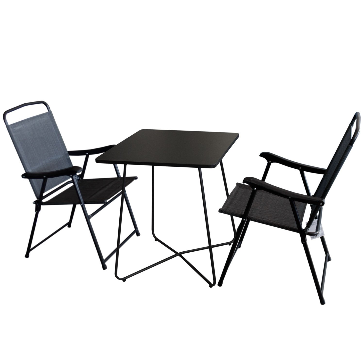 3tlg balkonm bel set bistrotisch metall 60x60cm schwarz 2x campingstuhl. Black Bedroom Furniture Sets. Home Design Ideas