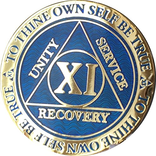 Recoverychip 11 Year Reflex Blue Gold Plated AA Medallion Alcoholics Anonymous Chip ()