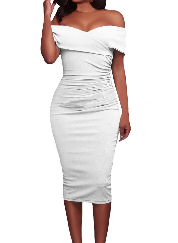 AlvaQ Women's Summer Sexy Off Shoulder Bodycon Midi Evening Coaktail Dress Lrge White