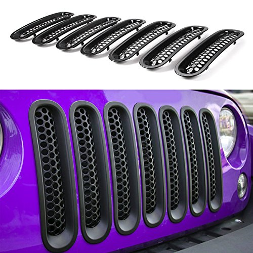 【Upgrade Matte Black Clip-in Version】 E-cowlboy Front Grill Mesh Grille Insert Guard Kit for Jeep Wrangler JK JKU 2007-2015 (Mesh Grille Grill Insert)