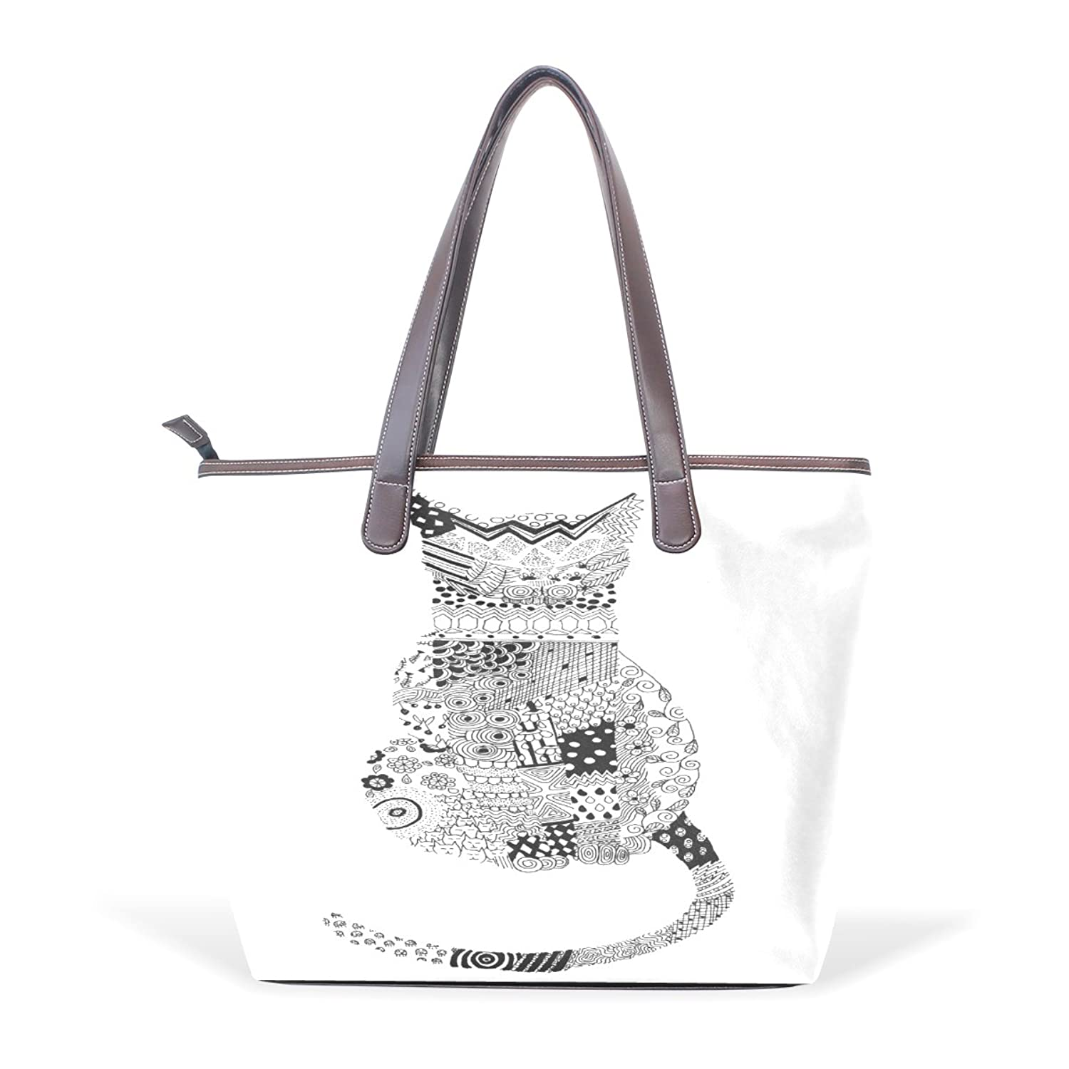 CCBHGY Women's Black And White Stitching Cat Back pattern Leather Handbag Zipper Shoulder Bag Tote Bag