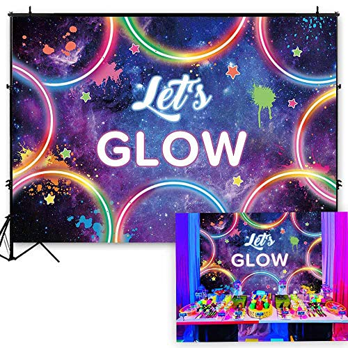 Funnytree 7x5ft Glow Neon Party Backdrop Colorful Laser Ray Splatter Photography Background Graffiti Spray Paint Disco Retro Dance in The Dark Night Birthday Banner Decorations Photo Booth Props