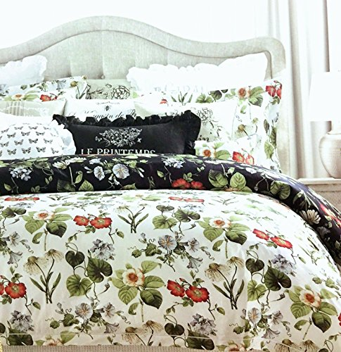 Vintage Botanical Wild Flower Print Duvet Quilt Cover by Envogue, Cotton Percale Bedding Set Colorful Floral Branches Drawing of Summer Blossoms (King, Black/Reversible)