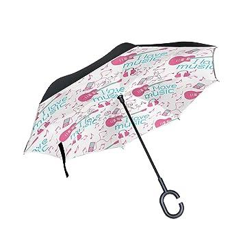 OKONE - Paraguas invertido de Marcha atrás para Guitarra de música, Ligero, Recto,