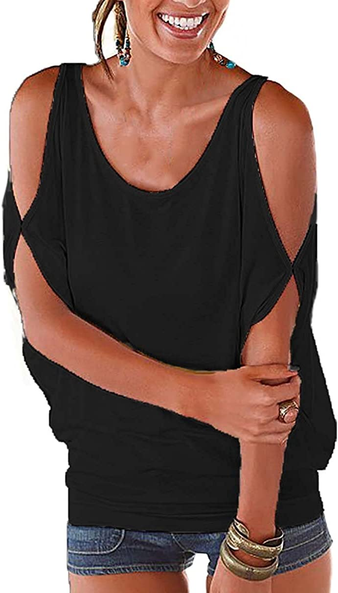 TALLA ES40 / L. Landove Camisetas Sin Tirantes Mujer Básica Tops Manga Corta T Shirt Verano Elegante Moda Blusa Casual Pullover Tunica Lisos