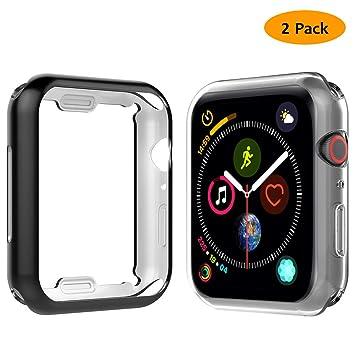 Anjoo 2 Piezas Funda Compatible Con Apple Watch 40mm 44mm, Suave TPU Carcasa Con Completo Protector Pantalla Compatible Con iWatch Serie 5 Series 4, ...