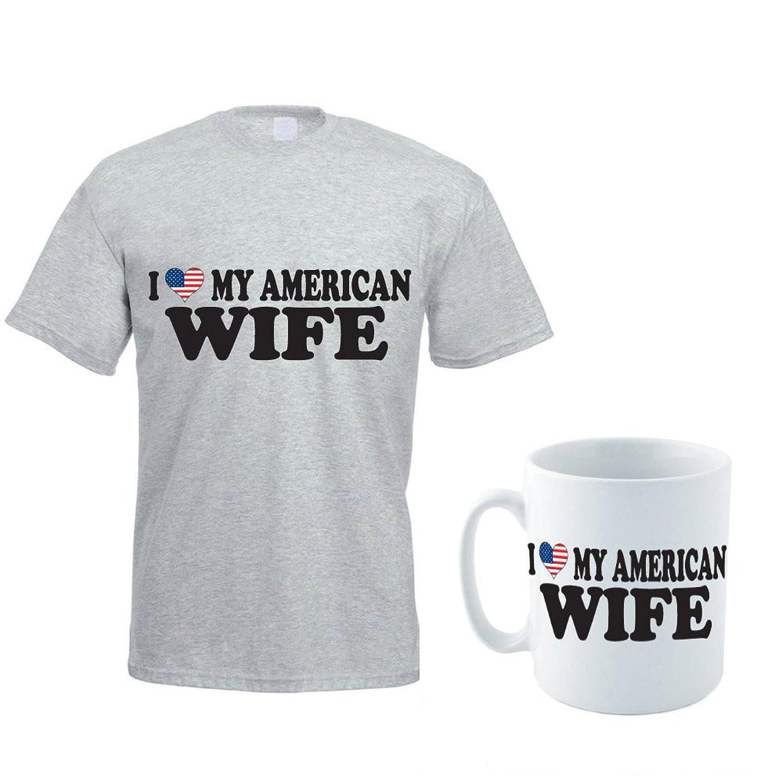 I LOVE MY AMERICAN WIFE - America / USA / Gift / Men's T-shirt & Mug Set