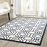 Safavieh Amherst Collection AMT416M Ivory and Navy Indoor/Outdoor Area Rug (9′ x 12′) For Sale