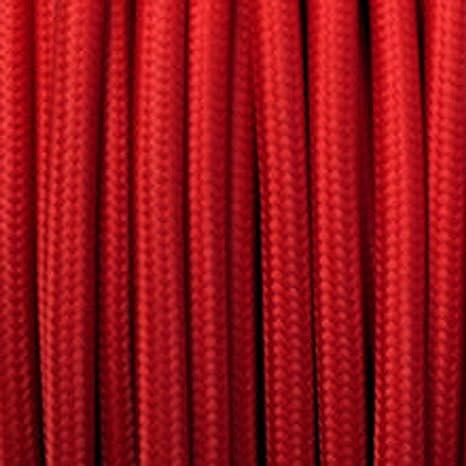C/âble /électrique flexible tress/é /à 2 fils de couleur vintage 5 m Red