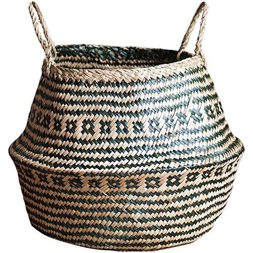 GRAS Modern black and white strips seagrass belly basket/ nursery decor/Wholesales bulk/laundry picnic storage basket/ belly basket storage/ -