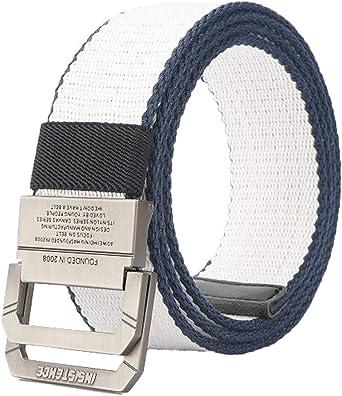 Longwu Cintur/ón t/áctico casual de doble hebilla con anilla en D de lona militar para hombres