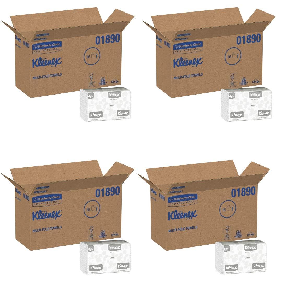 Kimberly-Clark Professional Kleenex Multi-Fold Paper Towels, 9 1/5 x 9 2/5, White, 150/Pack, 16 Packs/Carton (4 Pack)