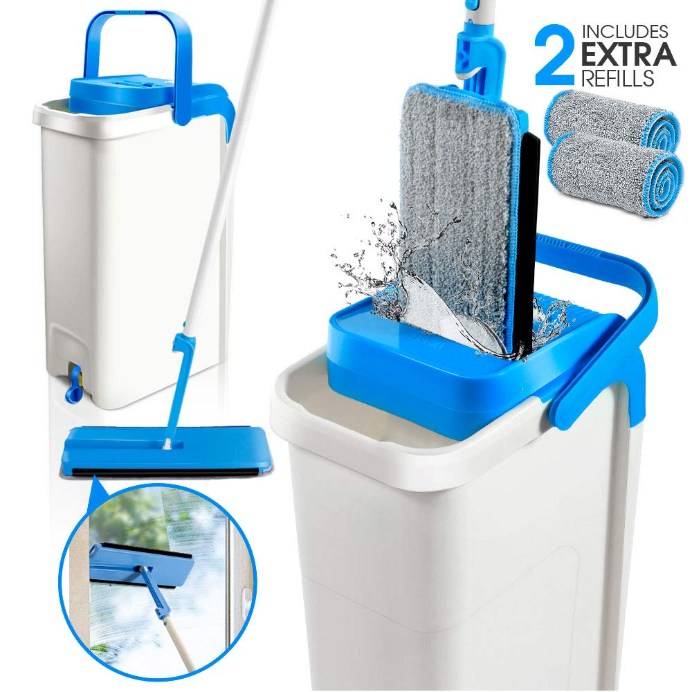 Flat Mop and Bucket System with Wringer Self Cleaning Squeeze Mop Bucket Set with 360 Rotation Adjustable Pole & 2 Microfiber Pads for Floor Cleaning Masthome by Masthome