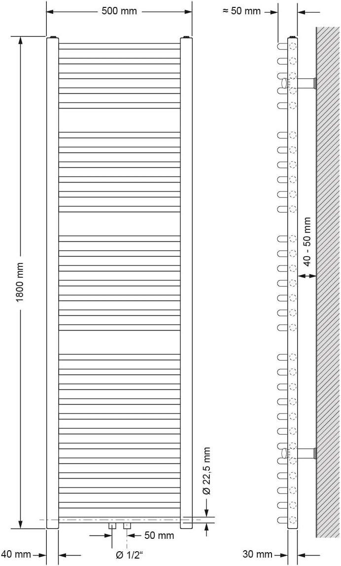 Anthrazit 600 x 800 mm gerade mit Mittelanschluss ECD Germany Badheizk/örper Sahara Heizk/örper Handtuchw/ärmer Handtuchtrockner