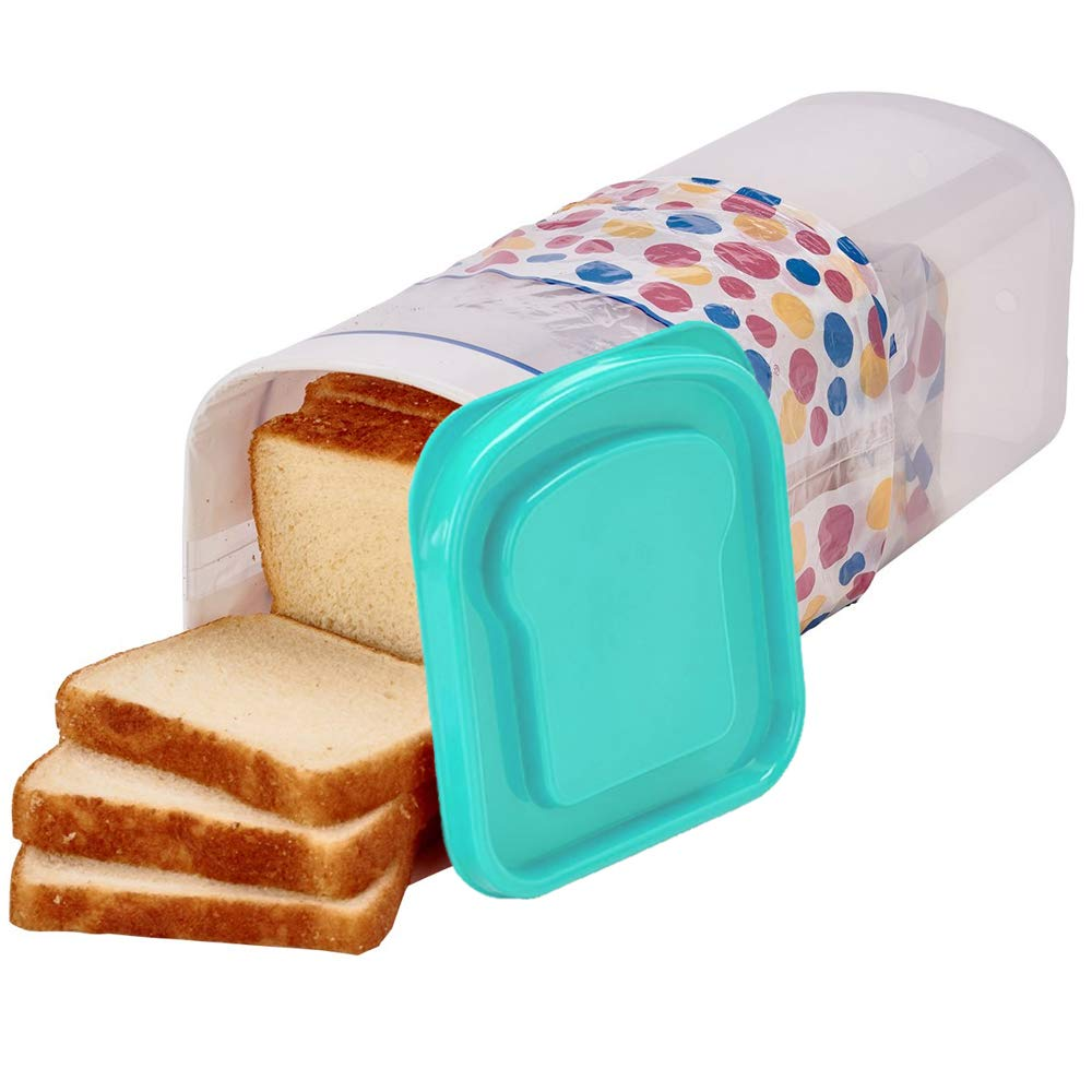 Buddeez Bread Container - Plastic Storage Keeper, Loaf, Aqua Lid
