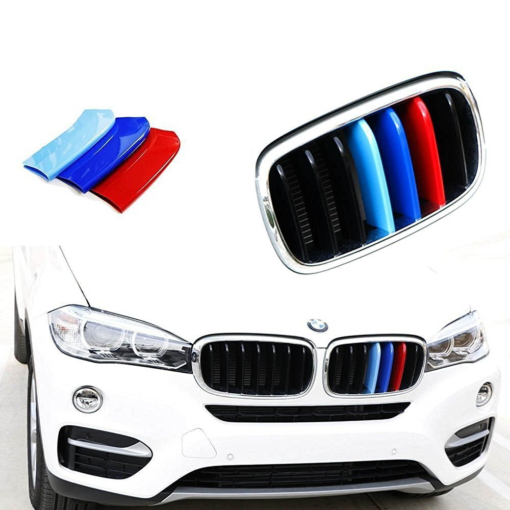 lanyun M Color X Series Grille Insert Trims Decorate for BMW Grill Stripes(07-13 E70 X5 or 08-12 E71 X6 7-Beam grillr Insert) Direct Fit Tri-Color Grille Insert Piece