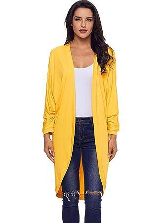 Abrigo De Rebeca De Manga Larga De Mujer Chal (Color : Amarillo, Tamaño :