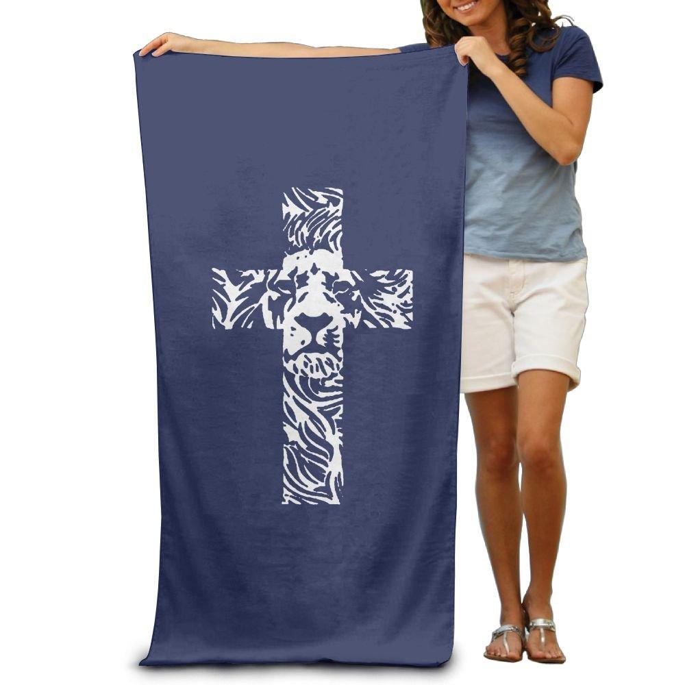 Wxf Lion Cross Religious Christian Soft Absorbent Beach Towel Pool Towel 30x50