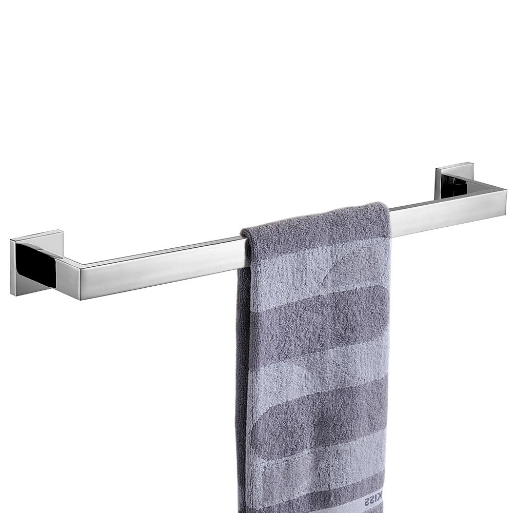 Keybath Stainless Steel Towel Robe Coat Hook Chrome Bathroom Kitchen Shower Square Silver Glitter Wall Mounted Polished Modern Hotel Style Single