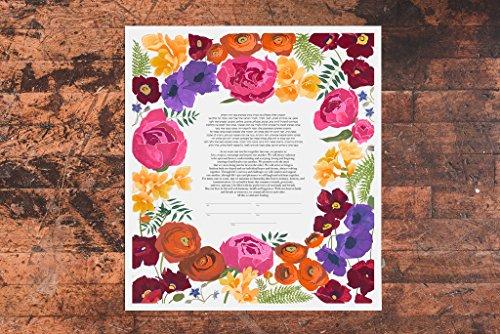 Vibrant Bouquet Ketubah | Jewish/Interfaith/Quaker Wedding Certificate | Hand-Painted, Giclée Print by Tallulah Ketubahs