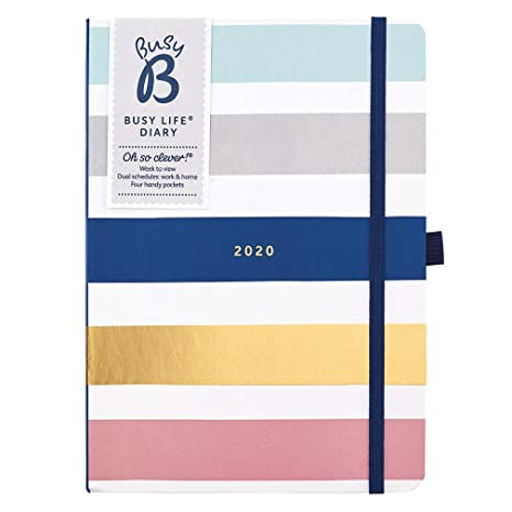 Busy B 2020 Stripe Busy Life Diary - A5 Planner with Dual schedules and Pockets