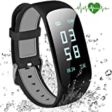 Abandship Fitness Tracker, Fitness Tracker Watch with Slim Touch Screen and Wristbands, Wearable Activity Tracker as Pedometer Sleep Monitor for Android and iOS