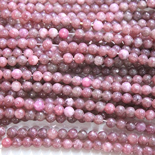 - fashiontrenda Natural Pink Tourmaline Round Gemstone Loose Beads Jewerly Making Findings (4mm)