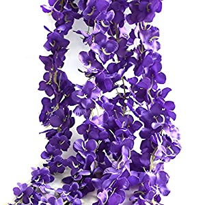 YEDREAM Artificial Hydrangea Flower Vine 2 pcs/6.5 FT Fake Wisteria Flowers Plants For Home Hotel Office Wedding Party Garden Decoration(Purple) 1