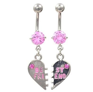 Amazon com: Pair 2 Best Friends Steel Heart Pink CZ Navel Ring