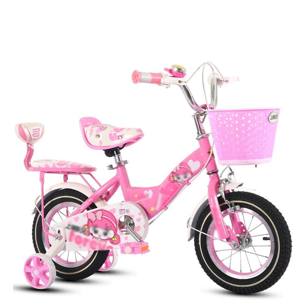 ピンクガールズベビーベビーカーバイク子供用自転車2-10歳のベビーペダル自転車キッズ B07DV1NTLH 18 inch