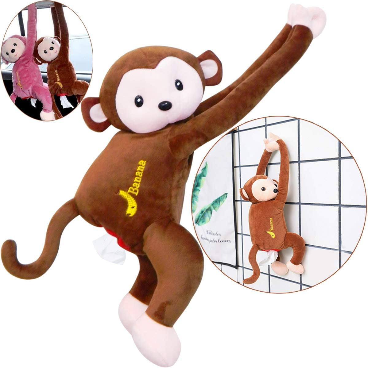 Quality Yes QY Brown Color Cotton Filled Cute Toy Cartoon Monkey Tissue Box Paper Holder Case