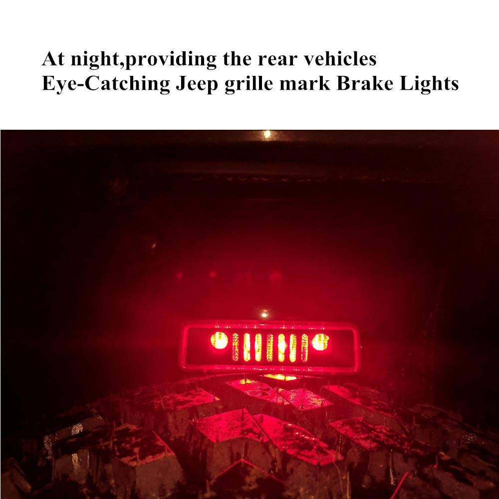 Third Brake Light Cover for Jeep Brake light Cover 2007-2017 Jeep Wrangler Unlimited JK JKU Rubicon Sahara Sport X S Rear Lamp Protector Accessories with 3M Automotive Adhesive Tapes Good Adhesion