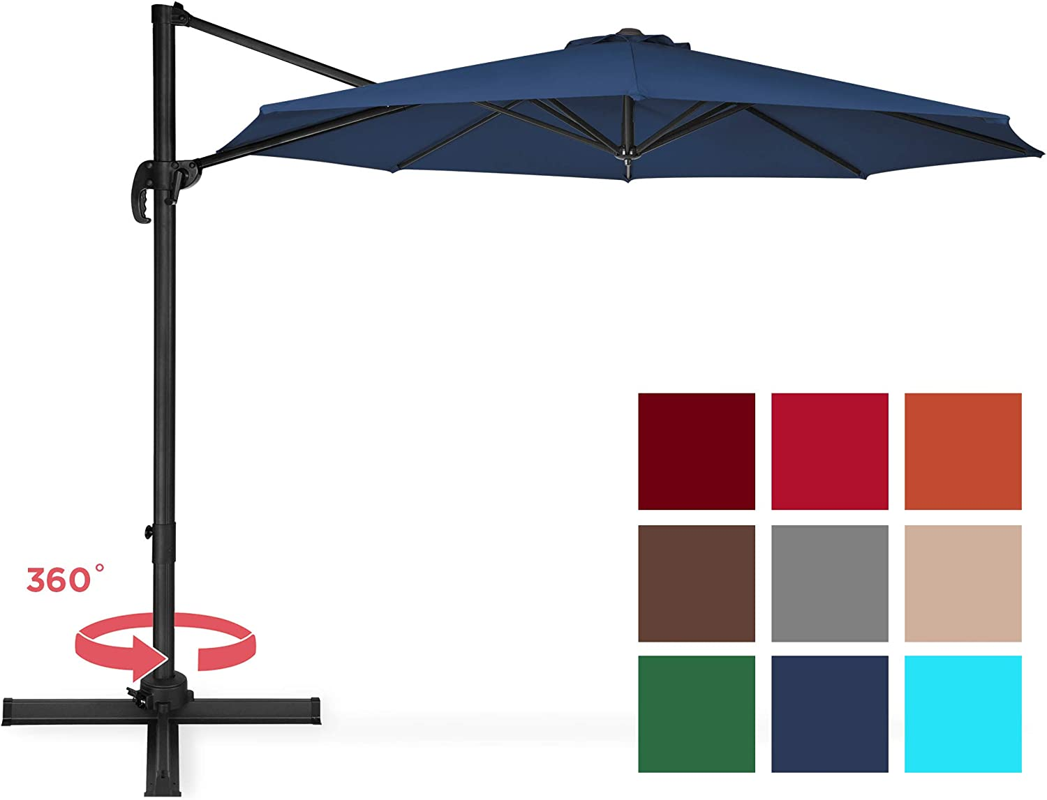 Best Choice Products 10ft 360 Degree Rotating Cantilever Offset Patio Umbrella w Easy Tilt – Navy Blue