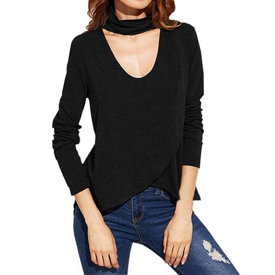 Blusa Mujer,Moda Mujer Manga Larga V Cuello Irregular Delgado Casual Camiseta Blusa Sexy Top: Amazon.es: Ropa y accesorios