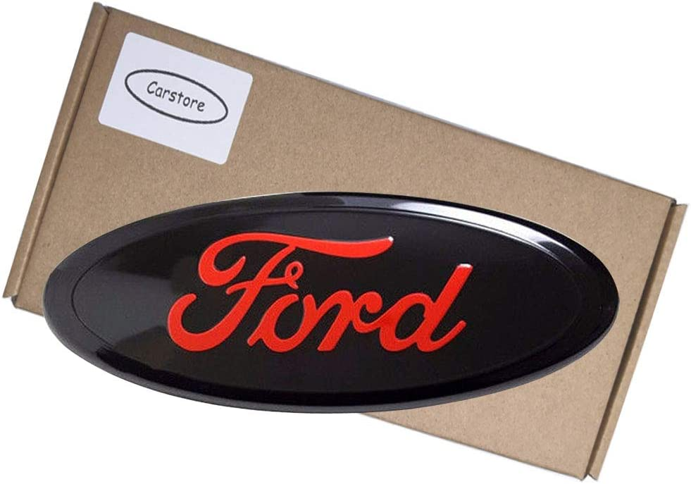 Carstore 2004-2014 F150 Front Grille Tailgate Emblem 11-16 Explorer Oval 9X3.5 Red Decal Badge Nameplate Fits for Ford 04-14 F250 F350 06-11 Ranger 11-14 Edge
