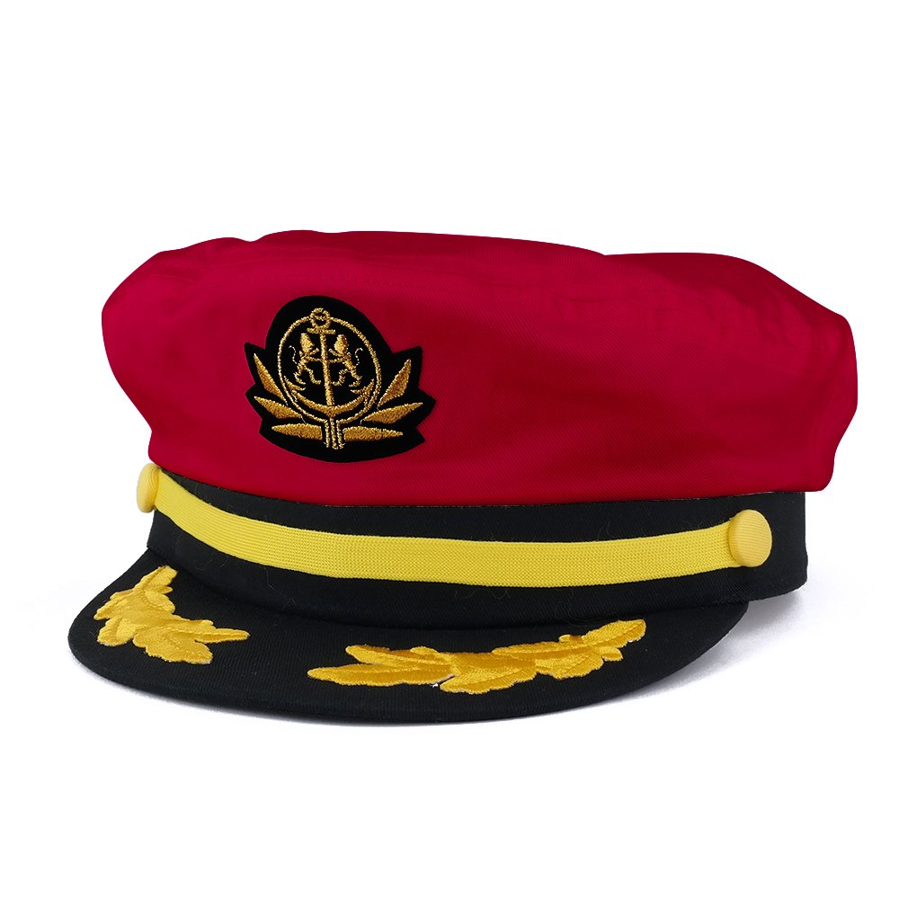 7bd8e2f6b0c00 Amazon.com  Adjustable Gold Color Embroidery Leafs Patch Flagship Captain  Hat - Black  Clothing