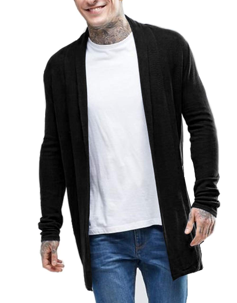 Simbama Men's Knitted Cardigan Sweater Slim Fit Casual Longline Open Front Cape Cloak