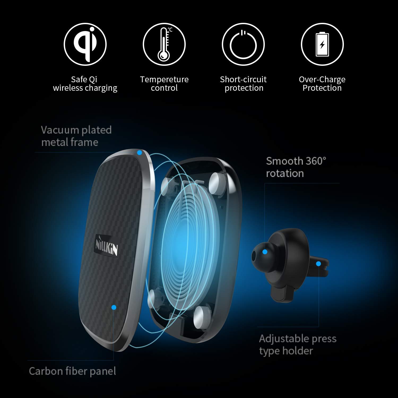 2-in-1 Regolabile Caricatore Senza Fili Supporto Magnetico Air Vent Car Mount Holder per iPhone 11 Pro Max//XS Max//XS//XR//8 Plus Galaxy S10//S10+//Note 10//S9//S8 Nillkin Caricatore Wireless Auto Rapido