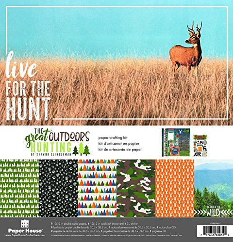 Paper House Productions KTSP-1063E Outdoors Hunting Paper Crafting Kit, 1-Pack, - Scrapbook Camo Paper