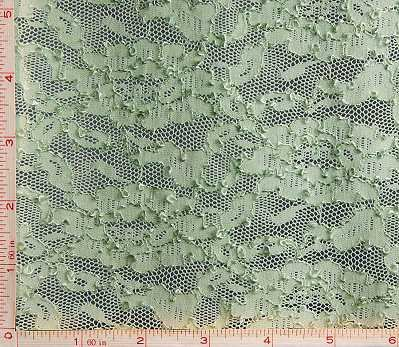 Dark Green Flower Embroidery Lace Fabric 4 Way Stretch Nylon 68-70